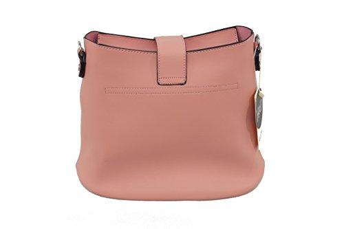 Damen Shopper Beuteltasche Umhängetasche Schultertasche Tasche aus Kunstleder in Rosa oder Blau Rosa