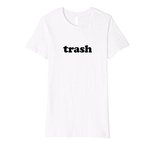 Womens Trash T-Shirt   White Trash Lazy Halloween Costume XL White
