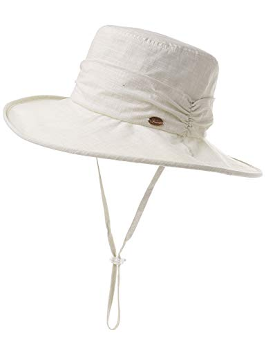 Comhats Fishing Summer Bucket Hat for Women Beach Cotton Foldable Packable Wide Brim Ladies Sunhat Outdoor Beige
