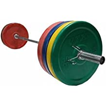 Troy VTX 260lb Colored Olympic Rubber Bumper Plates Weight Bar and Bumper Set with Spring Collars