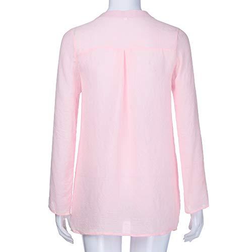 camicia L Size QinMM rosso Solid Plus camicetta cime tasche manica camicia dentellare moda Camicie donna Pullover bottone lunga manica lunga 11TROfq