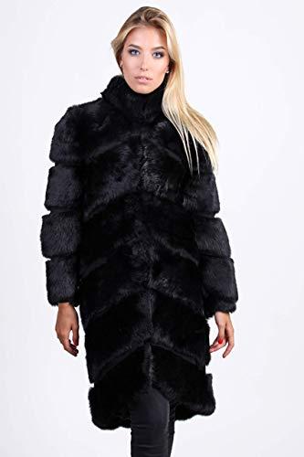 Black rabbit fur coat for women