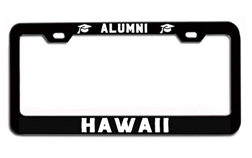 Hawaii  University Universities School Colleges Alumni Alumna Black Metal License plate frame cover tag