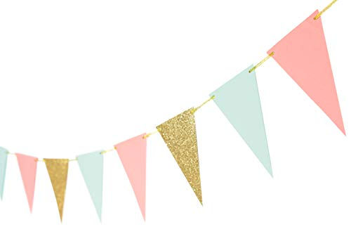 10 Feet Paper Banner Garland Glitter Pennant Banner Flags for Birthday Party Baby Shower Nursery Decoration 15 Pieces (Gold Coral Mint)