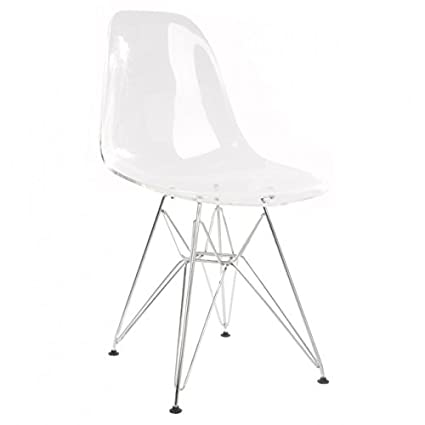 DSW Molded Clear Plastic Dining Shell Chair With Steel Legs
