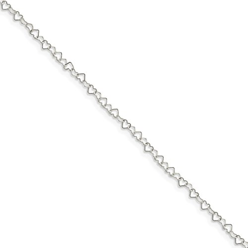 Ankle Bracelet Foot Jewelry Anklet - ICE CARATS 925 Sterling Silver 0.5mm Heart Link Anklet Ankle Beach Chain Bracelet Fine Jewelry Ideal Gifts For Women Gift Set From Heart by ICE CARATS (Image #3)