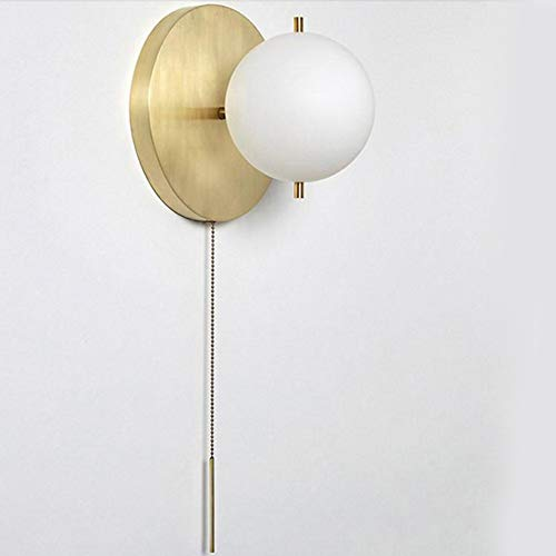 IJ INJUICY Wall Sconce with White Globe Glass in Satin Brass, Wall Lamp with Pull Switch for Bathroom Living Room & Hallway Vanity Lighting