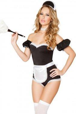 Las mujeres blanco/negro mucama francesa teddy traje disfraz ...