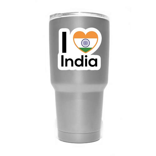 MKS0162 Two 3 Inch Decals Love India Flag Decal Sticker Home Pride Travel Car Truck Van Bumper Window Laptop Cup Wall