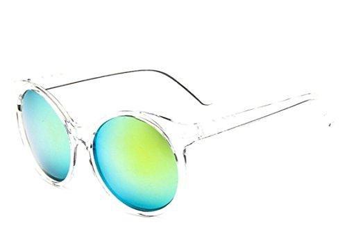 Chezi Women's Plastic Full Frame Iridium Mirrored Circle Lens Round Sunglasses - Round Sunglasses Clear Frame