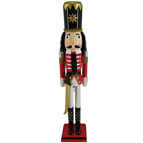 Christmas Holiday Slim Wooden Nutcracker Figure Soldier with Traditional Red Velvet Uniform Jacket with Rhinestones, Gold Sword, and Black Boots & Hat, Large, 36 Inch