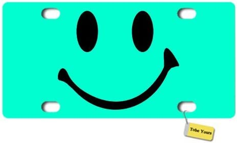 Tobe Yours License Plate Cover Smiley Face Printed Auto Truck Car Front Tag Personalized Metal License Plate Frame Cover 6x12