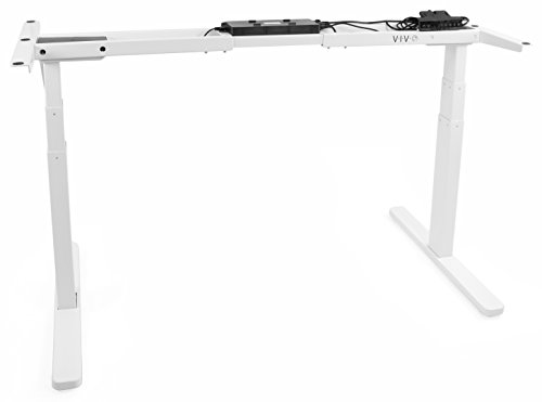 VIVO White Electric Dual Motor Stand Up Desk Frame Standing Height Adjustable Workstation Base Desk Frame Only Ergonomic Desk Legs DESK-V120EW