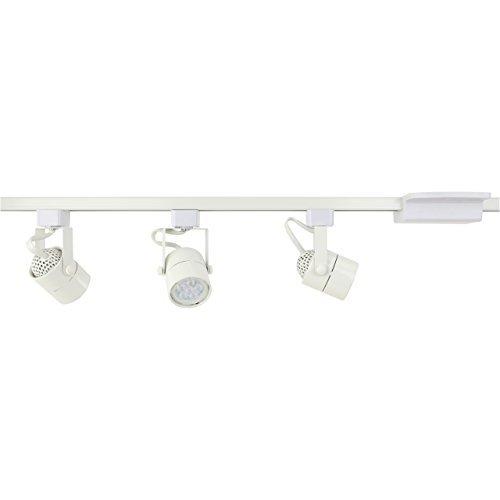 Dash & Direct D&D Brand H System 3-Lights GU10 LED Track Lighting Kit White 3K Warm White Bulbs Included HA-4519-KIT-330K-WH