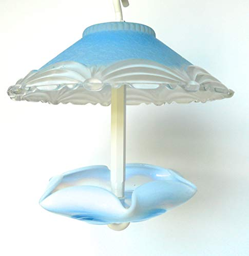 Opalescent Bird - Covered glass bird feeder in blue and white w/opalescent blue bottom
