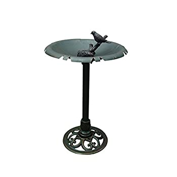 "Terra Verde Home FDBB1502 Bird Bath with Bird Accent, 20"" x 28"", Bronze"