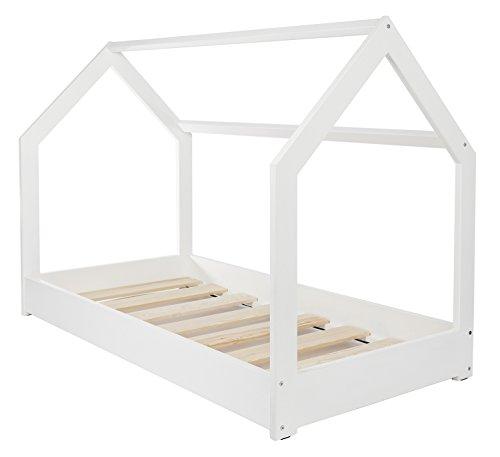 Velinda Cama Infantil en Forma de casa Dosel para ninos 190x90cm (Color Blanco)