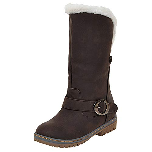 Gogoodgo Women Winter Keep Warm Shoes Snow Boots Suede Boots Shoes Buckle Strap Boots ()