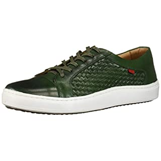 MARC JOSEPH NEW YORK Men's Leather Made in Brazil Luxury Lace-up Detail Fashion Sneaker, Emerald Green Brushed Nappa/Weave, 13 M US