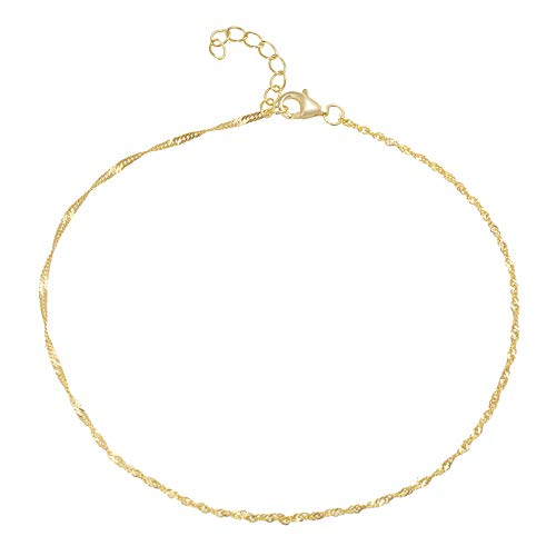 MIA SARINE Yellow Gold Plated Sterling Silver 10 Inch Singapore Rope Chain Anklet for Women (Yellow Rope)