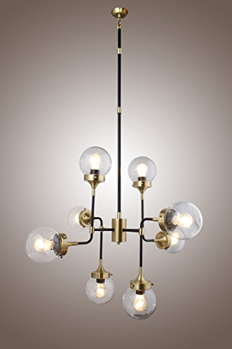 RH BISTRO GLOBE CLEAR GLASS BRASS COLOR 8-LIGHT CHANDELIER (Brass & Clear Glass) - 58' Pendant