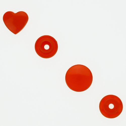 100 Glossy Deep Red (B38) Heart Shaped KAM Plastic Resin Snaps Craft Baby Bib Cloth Diaper