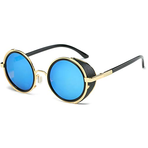 Dollger Steampunk Vintage Retro Round Sunglasses Metal Circle Frame (Blue Lens+Gold Frame,100% UV Protection ()