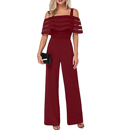 Comeon Women\'s Jumpsuits Wide Leg Off Shoulder Strap Elegant High Waist Rompers Party Evening Wedding (Red,Small) ()