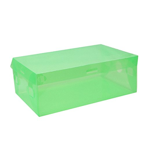 Topbeu Foldable Clear Women's Shoes Storage Boxes Transparent Boots Organize Colored Plastic Finishing Box (Green) (Plastic Colored Tubs)