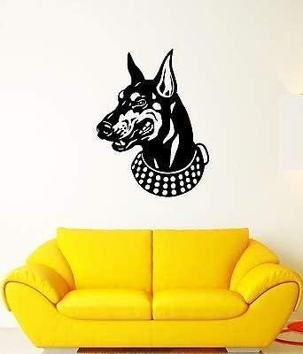 Wall Decal Doberman Feet Tail Dog Animal Pet Collar Grin Vinyl Stickers ed102