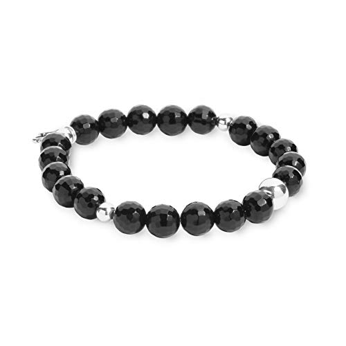 Black Agate Bracelet Silver (Carolyn Pollack Sterling Silver Black Agate Gemstone Stretch Bracelet - Medium to Large)
