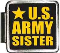 Army Italian Charm - US Army Sister Italian Charm Bracelet Jewelry Link A10419