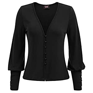 Women's Gothic Button Down Shrug Sweater Long Sleeve Cardigan