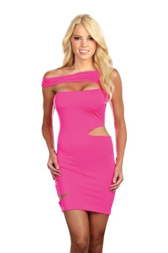 Dreamgirl Rocker and Raver Starter Dress, Neon Pink, X-Large ()
