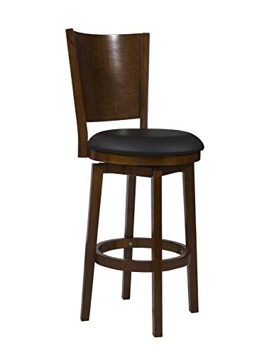 Powell Furniture Big and Tall Solid Back Wood Bar Stool - Powell Brown Bar Stools