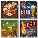 Coaster Set - Beer Lovers Tumbled Stone Coasters - Set of Four - Beer Coasters - Beer O'Clock by Highland Graphics