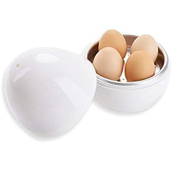 Microwave Egg Boiler Ball Shape Steamer for Hard or Soft Boiled Eggs Cooker 4 Eggs (white)