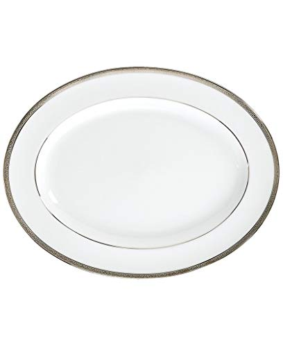 Charter Club 13-in Grand Buffet White Oval Serving Platter with Platinum Trim