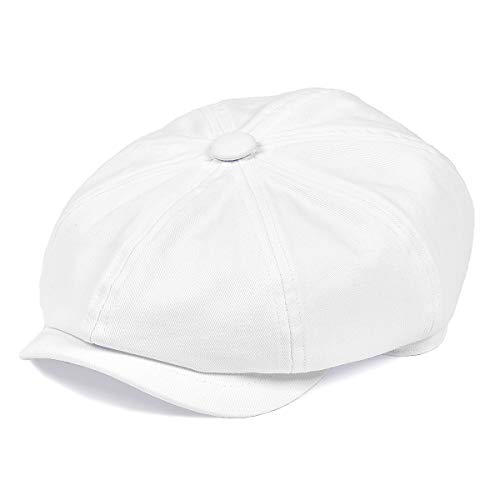BOTVELA Men's 8 Piece Newsboy Flat Cap 100% Cotton Gatsby Ivy Golf Cabbie Hat (White, L) -