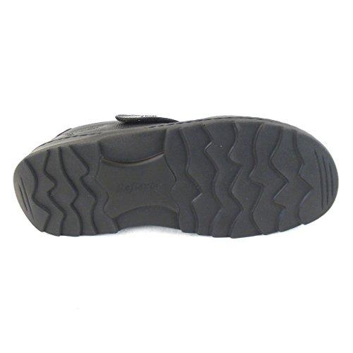 Stuppy Herren Schuhe Sandaletten Leder schwarz 14139 Fußbett Klettverschluss