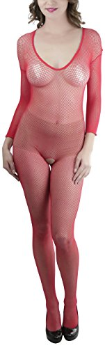 ToBeInStyle Women's Reversible Seamless Fishnet Crotchless Bodystocking - (Seamless Fishnet Crotchless Bodystocking)