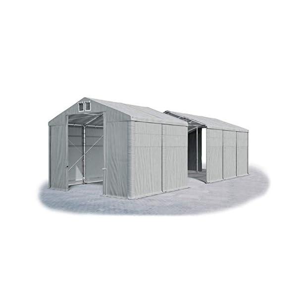 Das Company Tendone Deposito 4x16x3,5 m Tendone Bianco ignifugo Impermeabile 620g/m² Tenda da stoccaggio Rinforzo dell… 1 spesavip