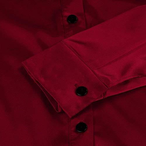 Chemise Rouge Manches Slim Revers Manche Haut Femme Boutonnage Mode Simple Elgante Costume Chic Chemisiers Soie Automne Longues Printemps Fit Uni Chemise Blouse Dame Shirt Loisir 5BqSfwxY