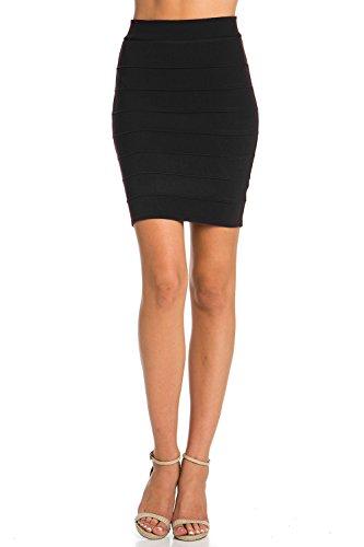 Black Knit Skirt (Bandage Bodycon Mini Knit Basic Stretch Short Pencil Skirt(19