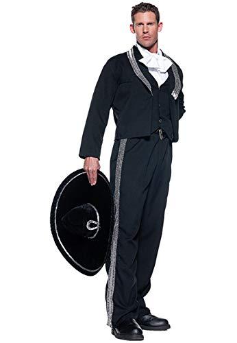 Men's Mariachi Costume, Black/Silver/White, One -