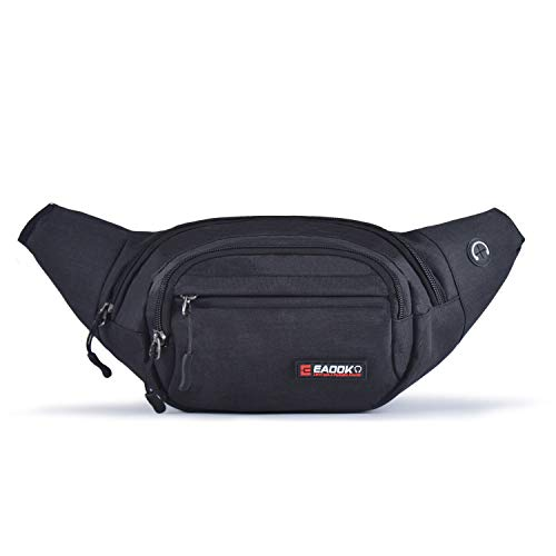 EAOOK Waterproof Travel Belt,Big Fanny Pack for Outdoor Sport/Money Belt (BLACK)
