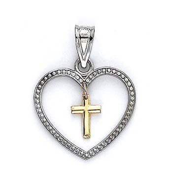 14 carats-Bicolore-Pendentif femme-Cœur et Croix JewelryWeb