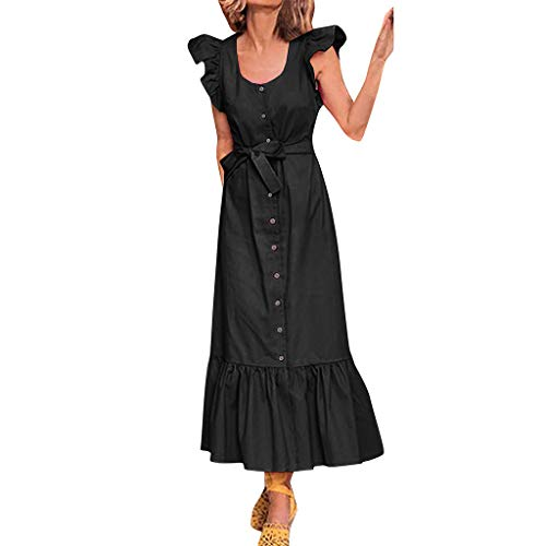 Sunhusing Women Solid Color Round Neck Ruffled Sleeveless Waist Belt with Button Decor Frilled Hem Long Dress Black
