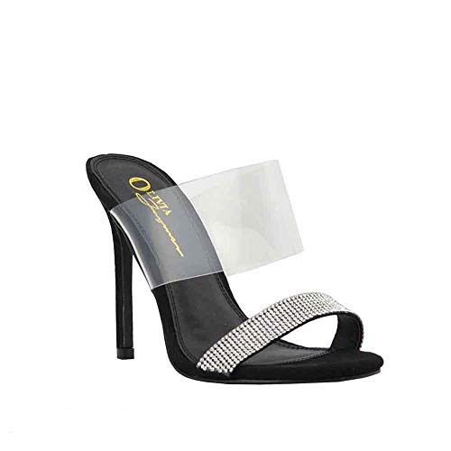 men Clear Transparent Embellished Rhinestone Double Strap Open Toe Slide Heel Sandals (8, Black) ()
