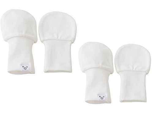White Baby Mittens - Oversized - 6 to 12 Months, No Scratch Mittens, Set of 2